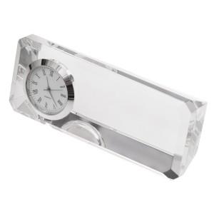 Kryształowy przycisk do papieru z zegarem Cristalino