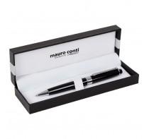Długopis Mauro Conti ze srebrnymi elementami, w ozdobnym pudełku.