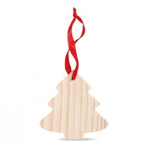 Drewniana zawieszka w kształcie choinki.