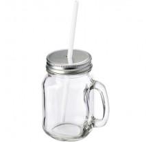 Słoik do picia 400ml, z rączką i srebrnym wieczkiem z otworem na słomkę.