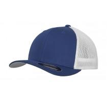 Dwukolorowa czapka z siatką.