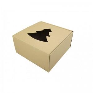 Pudełko szare z wyciętą choinką