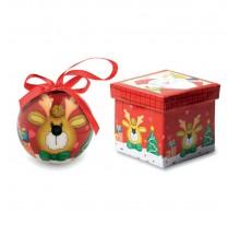 Świąteczna bombka z reniferem w pudełku.
