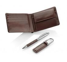 Komplet upominkowy porfel, brelok, długopis