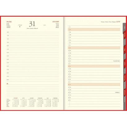 Kalendarz B5, Aluminium na magnes, dzienny, z registrami