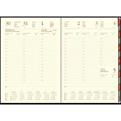 Kalendarz B5, skóra naturalna, tygodniowy, z registrami