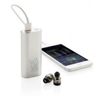 Bezprzewodowe słuchawki douszne, power bank 2000 mAh