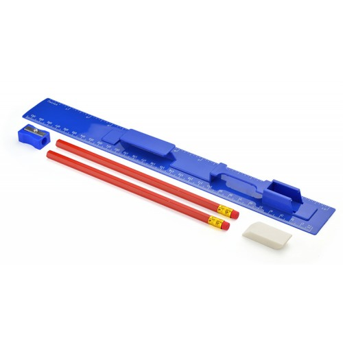 Linijka 30 cm z ołówkami, gumką i temperówką