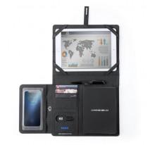 Teczka konferencyjna, notatnik, power bank, stojak na tablet