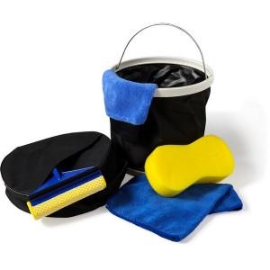 Zestaw do mycia samochodu, wiaderko, szmatka z mikrofibry, gąbka, myjka, ściągaczka do wody