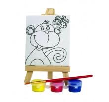 Zestaw do malowania, mini sztaluga małpka