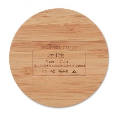 Okrągła ładowarka bezprzewodowa z bambusa