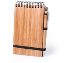 Bambusowy notatnik A6, długopis