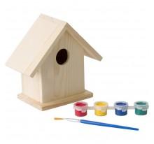 Domek dla ptaków, zestaw do malowania, farbki i pędzelek