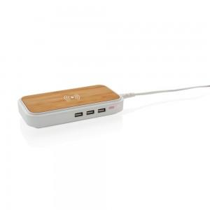 Bambusowa ładowarka bezprzewodowa 5W, 3 wyjścia USB
