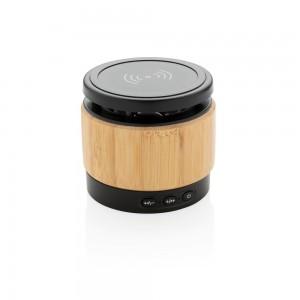 Bambusowy głośnik bezprzewodowy 3W, ładowarka bezprzewodowa