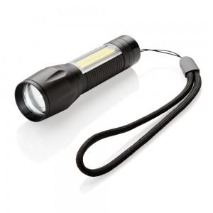 Kieszonkowa latarka LED 3W ze światłem COB