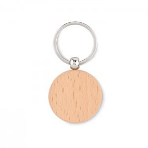 Okrągły drewniany brelok do kluczy.