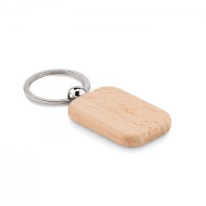 Drewniany brelok w kształcie prostokąta.