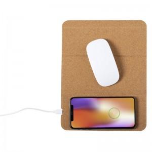 Korkowa podkładka pod mysz, bezprzewodowa ładowarka 5W, stojak na telefon