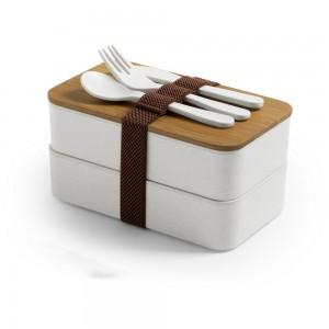 Bambusowe pudełka śniadaniowe 2 szt., 2x700 ml, sztućce