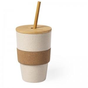 Bambusowy kubek podróżny 450 ml z wieczkiem i słomką