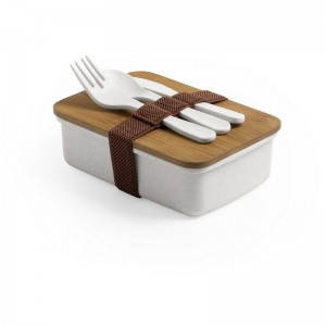 Bambusowe pudełko śniadaniowe 700 ml, sztućce
