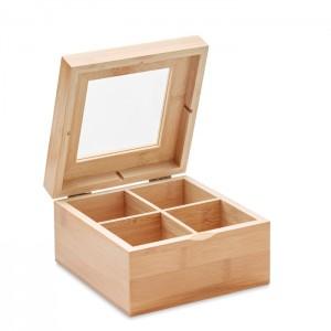 Bambusowe pudełko na herbatę ze szklaną pokrywką