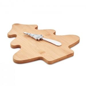 Zestaw z bambusową deską i nożem do serów.
