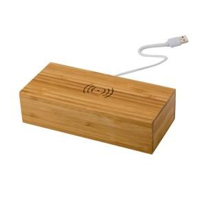 Bambusowa ładowarka bezprzewodowa 5W, zegar