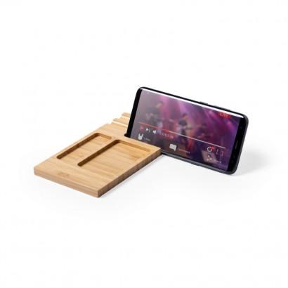 Bambusowy organizer na biurko, stojak na telefon