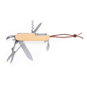 Nóż wielofunkcyjny, scyzoryk, 9 funkcji, bambusowy uchwyt
