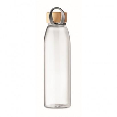 Szklana butelka z bambusową pokrywką