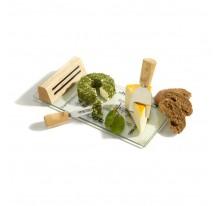 Deska do sera, połączenie drewna i szkła, z 2 pask