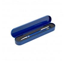 Długopis ze srebrnymi elementami w metalowym etui
