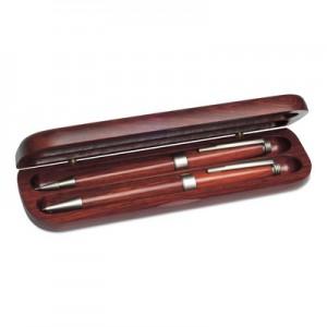 Zestaw piśmienny w drewnianym pudełku