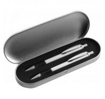 Zestaw piśmienny w metalowym pudełku