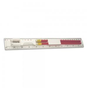 Linijka 30 cm / 12 cali z 2 ołówkami, temperówka i