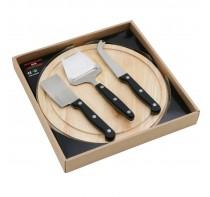 Okrągła drewniana deska do sera z 3 nożami