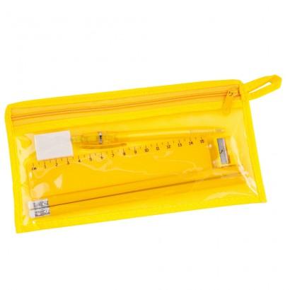 Piórnik na zamek błyskawiczny, 2 ołówki, linijka,