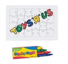 Puzzle 24 el. i 4 kredki świecowe