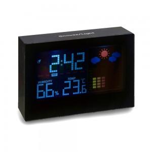 Stacja pogodowa, zegar, alarm, wskazuje temperatur