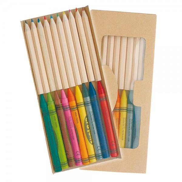 Zestaw 10 kredek zwykłych i 9 świecowych w kartono