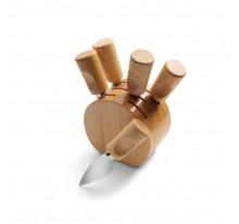 Zestaw 5 akcesoriów do sera w drewnianej podstawce