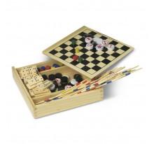 Zestaw 5 gier w drewnianym pudełku: domino, mikado
