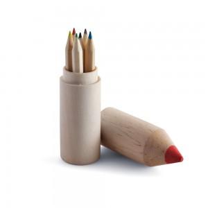 """Zestaw 6 kredek w drewnianym pudełku """"ołówek"""""""