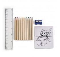 Zestaw do rysowania, 10 kredek, linijka 15 cm, tem
