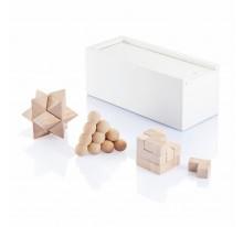 Zestaw łamigłówka 3 w 1 w białym, drewnianym pudeł
