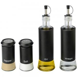 Zestaw pojemników na oliwę i ocet sól i pieprz