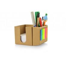Kostka - eko pojemnik na długopisy z karteczkami i długopisem